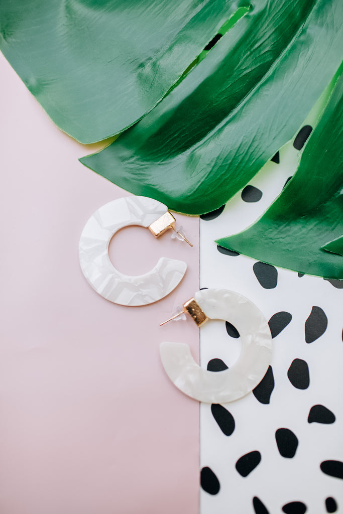 Round and About Earrings - White