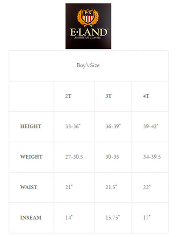 E.Land Kids Size Chart Madison-Drake Children's Boutique