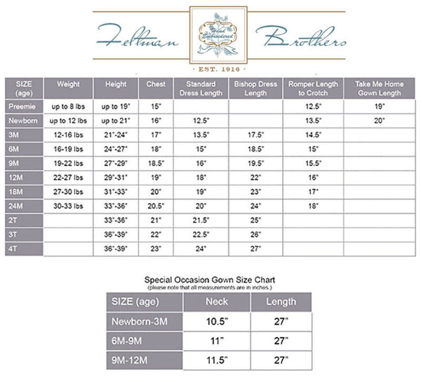 Feltman Brothers Size Chart Madison-Drake Children's Boutique