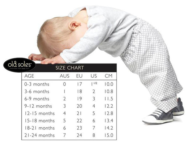 Old Soles Children's Shoes Size Chart Madison-Drake Children's Boutique