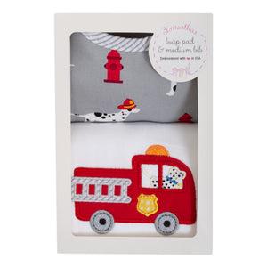 3 Marthas Firetruck Applique Burp and Bib Boxed Gift Set