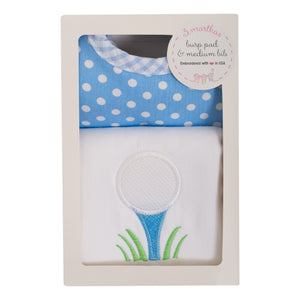 3 Marthas Golf Applique Burp and Bib Boxed Gift Set