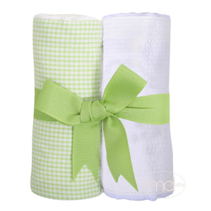 3 Marthas Green Gingham and White Seersucker Fabric Burp Pads Set