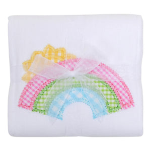 3 Marthas Rainbow Appliqued Baby Burp Cloth