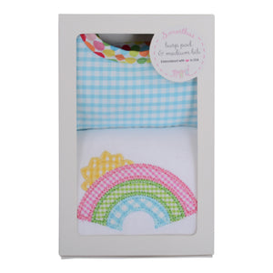 3 Marthas Rainbow Applique Baby Girl's Burp and Bib Gift Set