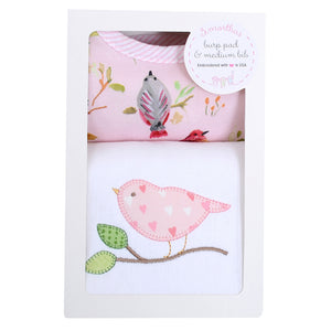 3 Marthas Bird Applique Burp / Bib Baby Gift Set - Madison-Drake Children's Boutique