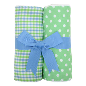 3 Marthas Blue Alligator Fabric Burp Pads Set - Madison-Drake Children's Boutique
