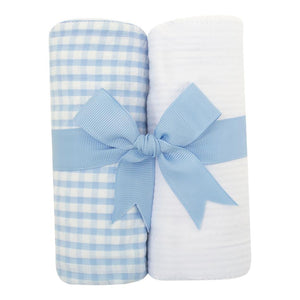 3 Marthas Big Blue Check Fabric Burp Pads Set - Madison-Drake Children's Boutique