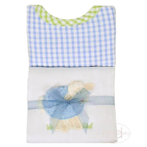 3 Marthas Blue Little Lamb Applique Burp / Bib Set - Madison-Drake Children's Boutique