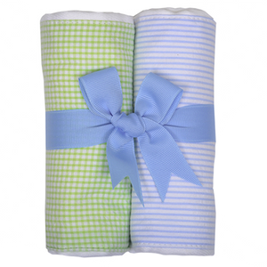3 Marthas Blue / Green Fabric Burp Pads Set - Madison-Drake Children's Boutique