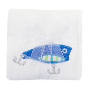 3 Marthas Fishing Pole Applique Baby Boys Burp Cloth - Madison-Drake Children's Boutique