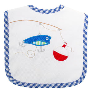 3 Marthas Fishing Pole Appliqued Baby Boys Feeding Bib - Madison-Drake Children's Boutique