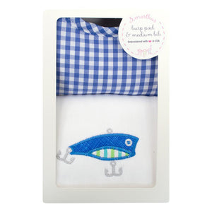 3 Marthas Fishing Pole Applique Burp / Bib Set - Madison-Drake Children's Boutique