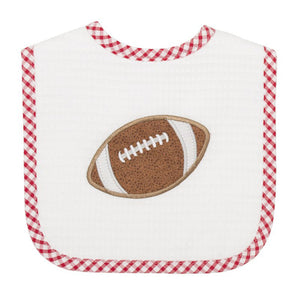 3 Marthas Football Applique Red Gingham Feeding Bib - Madison-Drake Children's Boutique