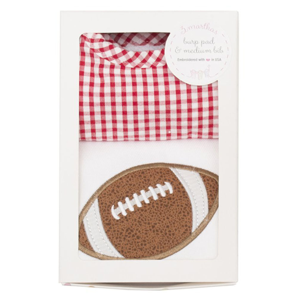 3 Marthas Appliqued Football Red Check Burp and Bib Boxed Gift Set