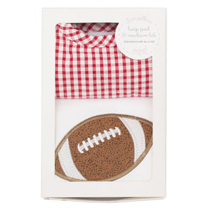 3 Marthas Football Applique Red Gingham Burp / Bib Set - Madison-Drake Children's Boutique