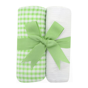 3 Marthas Big Green Check Fabric Burp Pads Set - Madison-Drake Children's Boutique