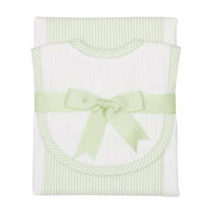 3 Marthas Green Stripe Burp / Drooler Baby Bib Set - Madison-Drake Children's Boutique