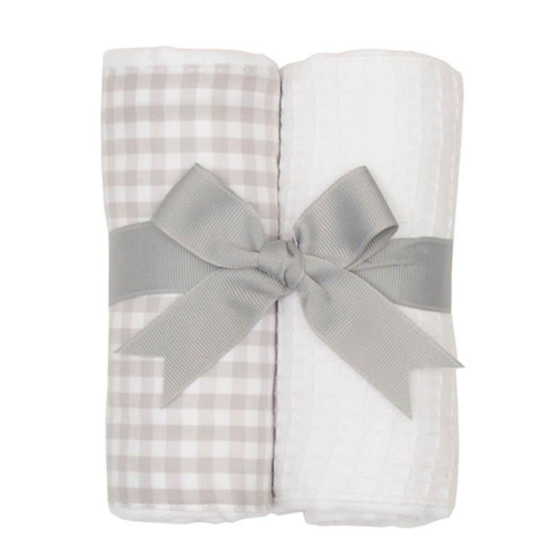 3 Marthas Grey Gingham and White Pique Fabric Burp Pads Gift Set
