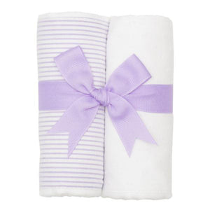 3 Marthas Lilac Stripe Fabric Burp Pads Set - Madison-Drake Children's Boutique