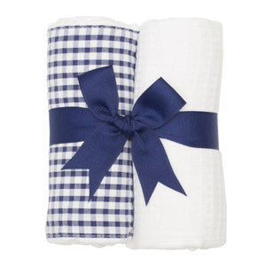 3 Marthas Navy Check Fabric Burp Pads Set - Madison-Drake Children's Boutique