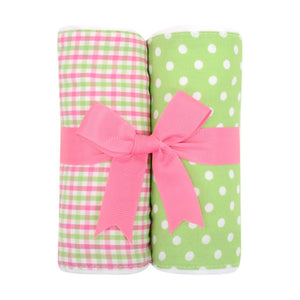 3 Marthas Pink Alligator Fabric Burp Pads Set - Madison-Drake Children's Boutique