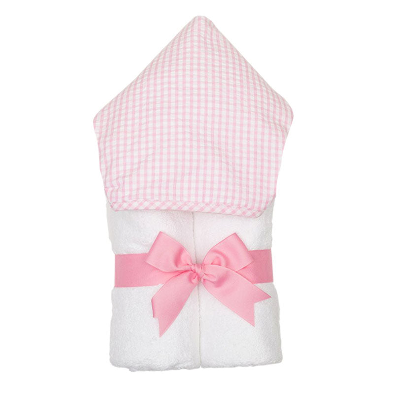 3 Marthas Pink Gingham Check Everykid Girl's Hooded Towel
