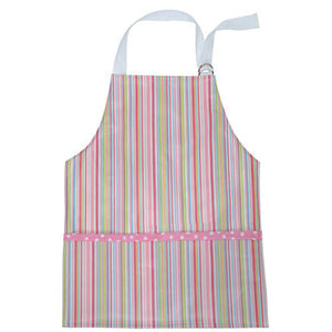 3 Marthas Pink Multi Stripe Little Girls Apron Laminated Art Smock - Madison-Drake Children's Boutique