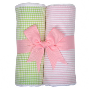 3 Marthas Pink / Green Fabric Burp Pads Set - Madison-Drake Children's Boutique