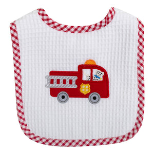 3 Marthas Firetruck Appliqued Baby Boys Feeding Bib - Madison-Drake Children's Boutique