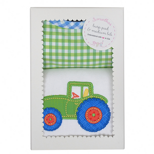 3 Marthas Tractor Applique Burp / Bib Set - Madison-Drake Children's Boutique