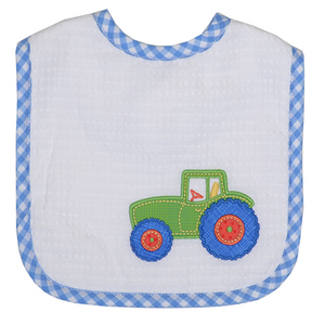 3 Marthas Tractor Appliqued Baby Boys Feeding Bib - Madison-Drake Children's Boutique