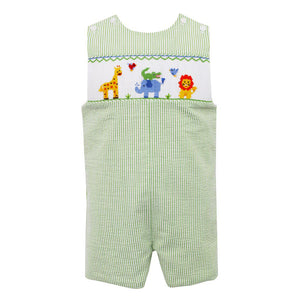 Anavini Smocked Safari Animals Boy's Seersucker Shortall