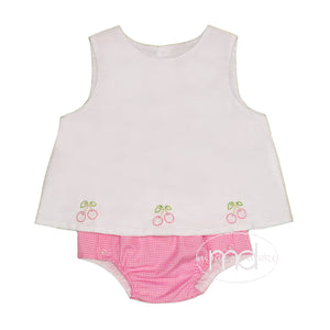 Baby Sen Girl's Cherry Embroidered Diaper Set