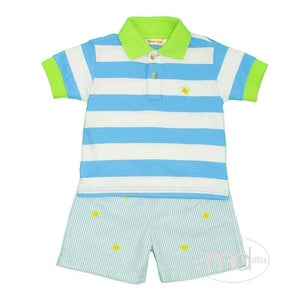 Toddler Boy's Embroidered Sea Turtles Shorts Set Turquoise Stripe