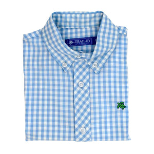 J. Bailey Toddler Boy's Blue Gingham Long Sleeve Button Down Shirt