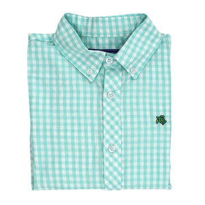J. Bailey Toddler Boy's Mint Gingham Long Sleeve Button Down Shirt