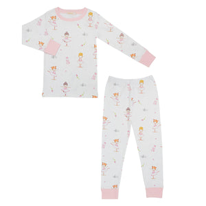 Ballerina Print Little Girl's Pima Cotton Pajamas