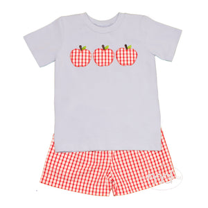 Banana Split Apple A Day Toddler Boy's Appliqued Shorts Set