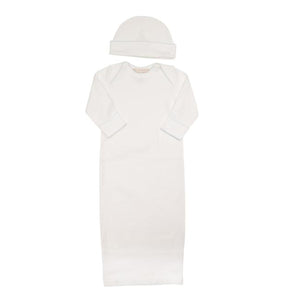 Beaufort Bonnet Girl's White with Buckhead Blue Newborn Gown Hat Set