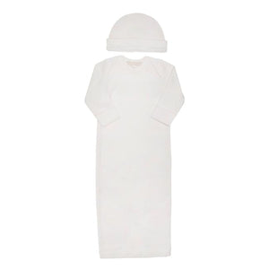 Beaufort Bonnet Girl's White with Palm Beach Pink Newborn Gown Hat Set