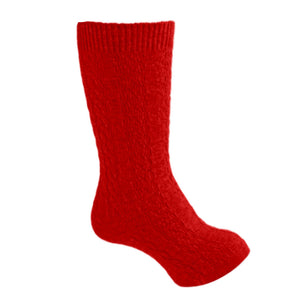 Carlomagno Girls Cable Knit Knee Socks - Red - Madison-Drake Children's Boutique