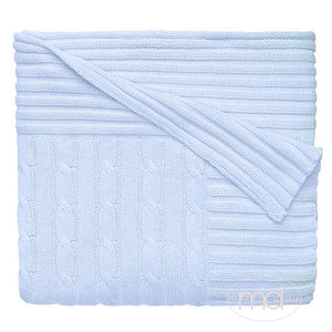 Elegant Baby Blue Cable Knit Cotton Blanket - Madison-Drake Children's Boutique