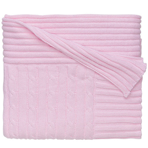 Elegant Baby Pink Cable Knit Cotton Blanket - Madison-Drake Children's Boutique