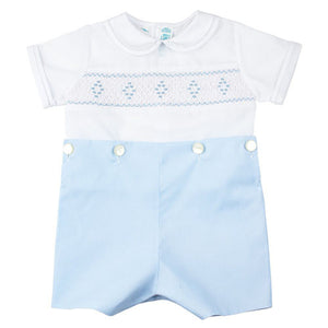 Feltman Brothers Boys Smocked Blue Bobby Suit - Madison-Drake Children's Boutique