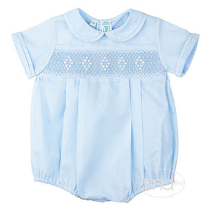 Feltman Brothers Baby Boys Blue Smocked Bubble - Madison-Drake Children's Boutique