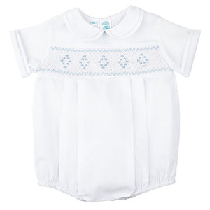 Feltman Brothers Baby Boys Blue Smocked White Bubble - Madison-Drake Children's Boutique