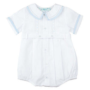Feltman Brothers White Pintuck Baby Boys Bubble - Madison-Drake Children's Boutique