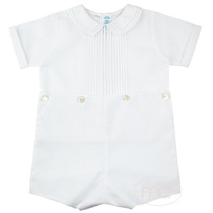 Feltman Brothers Boys White Button-On Romper - Madison-Drake Children's Boutique