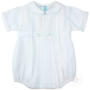 Feltman Brothers Baby Boys White Pintuck Bubble - Madison-Drake Children's Boutique